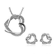 Habors 18K White Gold Plated Austrian Crystal Double Heart Pendant Set (Valentine Gift) for Rs. 296