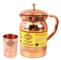 Set Of 1 Pure Copper Jug With Glass - Serving Water - Home Hotel Restraunts Good Health for Rs. 695