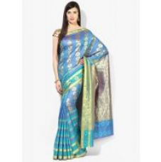 Parchayee Blue  Silk  Plain Saree With Blouse for Rs. 1,379