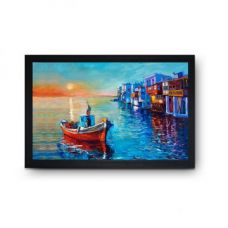Buy SAF Boats Oil Painting Reprint Crimson And Blue for Rs. 674