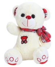 Dimpy Stuff Teddy Bear With Checks Bow - White for Rs. 359