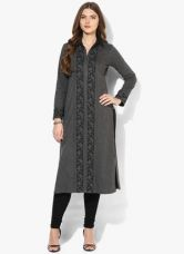 Biba Dark Grey Yarn Dyed Polyester Kurta for Rs. 2300