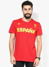Flat 50% off on Adidas Spain Red Round Neck T-Shirt