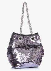 Buy Dorothy Perkins Pewter Sequin Chain Pouch Handbag for Rs. 1550