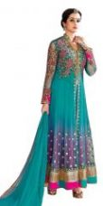 Get 73% off on Sargam Fashion Embroidered Light Blue Net Fashion Shervani Style Party Wear Semi-stitched Suit - Srsf348