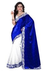 Get 63% off on Fancy Designer Sarees Bollywood Unique Velvet  Half N Half Brasso Saree With Blouse Piece