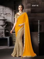 Buy Yellow Georgette Half & Half Saree from Voonik