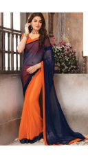 Buy NEW DESIGNER BOLLYWOOD STYLE NAVY BLUEAND ORANGE  COLOUR HALF AND HALF   SAREE from Voonik