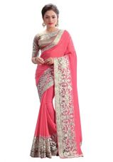 Buy Offer New Designer Offer New Designer Heavy Border Embroidered Georgette Saree(Pink) from Voonik