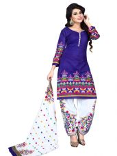 Get 61% off on Sahari Designs Womens Blue Cotton Dress Material - Unstitched