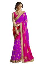 Georgette Violet Coloured Charming  Saree Wth Blouse for Rs. 1042