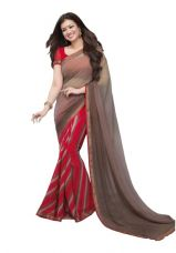 Buy Fancy Designer Georgette Bollywood Saree(Brown) from Voonik