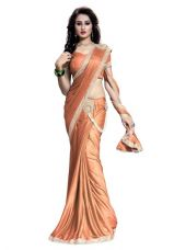 Offer New Arrivals Fancy High Quality Lycra Heavy Embroidred Lehenga Saree(Orange) for Rs. 1143