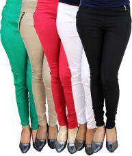 Flat 50% off on Skyline Trading Cotton Lycra Jeggings Pack of 5