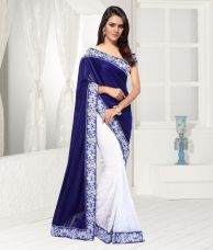Fancy Designer Sarees Bollywood Unique Embriodered Velvet Half N Half Brasso Saree With Blouse Piece for Rs. 751