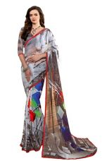 Fancy New Arrival High Quality Faux GeorgetteDesigner Saree in offer and sale discount Price(Grey) for Rs. 672