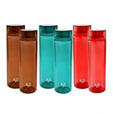 Buy Cello H2O Unbreakable Premium Edition Plastic Bottle, 1 Litre, Set of 6 (2-Red,2-Sky Blue,2-Brown) from Amazon