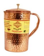 Buy Pure Copper Hammered Jug Pitcher 2100 Ml - Storage Drinking Water Home Hotel Restaurant for Rs. 699