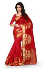 Buy See More Art Silk Banarasi Saree With Blouse For Women- Red for Rs. 779