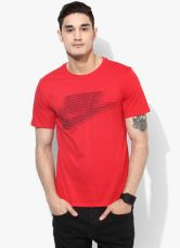 Flat 40% off on Nike As Lenticular Futura Red Round Neck T-Shirt