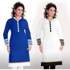 Buy Buy 1 Miss Perfect Long Cotton White Kurti & Get 1 Long Cotton Blue Kurti Free ( Blu Whte White Blck) for Rs. 399