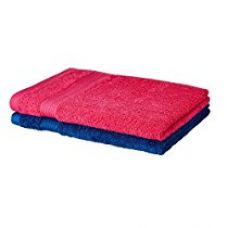 Solimo 100% Cotton 2 Piece Hand Towel Set, 500 GSM (Paradise Pink and Iris Blue) for Rs. 299