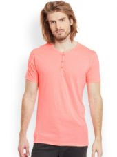 Men Coral Pink Solid Henley Neck T-shirt for Rs. 299