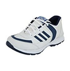 Buy Essence Men's White & Blue Mesh Running Shoes-8 from Amazon