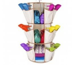 Get 62% off on Qubeplex Foldable Shoe Carousel With 24 Pocket Organizer