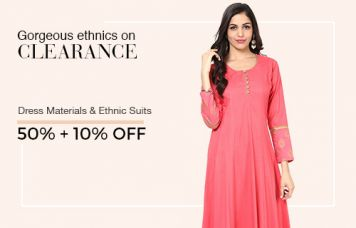 Gorgeous ethics on CLEARANCE- Get 50%+10% Off on Dress Materials & Ethics suits