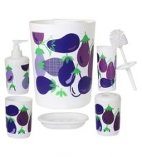 Buy Go Hooked Multicolour Ceramic Bathroom Accessories - Set of 7 from PepperFry
