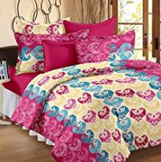 Story@Home Candy 100 % Cotton Basic Home Bedsheets for Double Bed with 2 Pillow Covers, MultiColor for Rs. 507