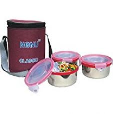 Buy Nonu Classic tiffin with 3 leakproof stainless steel container and thermal insulated bag from Amazon