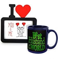 Tied Ribbons Best Husband Ceramic Mug(350 ml,Blue) with Photo Frame for Rs. 499