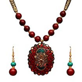 Best Valentine Collection: Sitashi Ethnic Wear Rajasthani Hand Work and Beads Fashion Jewellery Floral Design Pendant Necklace Set for Girls and Women for Rs. 299
