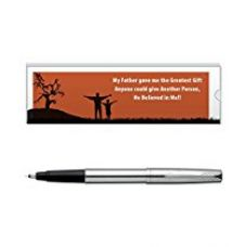 Buy Parker Frontier Stainless Steel Roller Ball Pen - Chrome Trim, Blue Ink, with Dad quote from Amazon