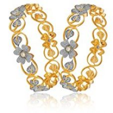 M Creation American Diamond Floral Shape Gold Plated Bangle Set For Women(Pack Of 2) (2.4) for Rs. 399