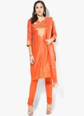 Buy Biba Orange Printed Poly Cotton Salwar Kameez Dupatta for Rs. 1980