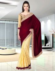 Get 71% off on Fancy Designer Sarees Bollywood Embriodered Velvet Kapishial sari With  Blouse Piece