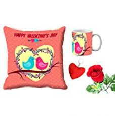 MeSleep Happy Valentine's Day Digital Printed Cushion (With Filler) & Mug With Free Artificial Rose And Key Chain for Rs. 579