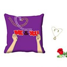 MeSleep Me & You Valentine Digital Printed Cushion (With Filler) With Free Artificial Rose and Pendant Set for Rs. 419