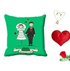 Buy meSleep Green Valentine Couple Digital Printed Cushion (With Filler) With Free Heart Shaped Filled Cushion and Artificial Rose and Pendant Set from Amazon