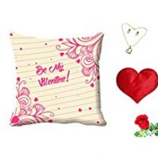 Buy meSleep Pink Be My Valentine Digital Printed Cushion (With Filler) With Free Heart Shaped Filled Cushion and Artificial Rose and Pendant Set from Amazon