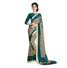 Buy Kanchnar Women's Crepe Saree With Blouse Piece (139S303,Cream And Green,Free Size) from Amazon