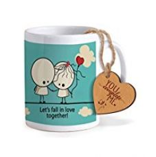 TiedRibbons® Valentines Day Gift for Boyfriend Coffee Mug(325ml) with Heart shaped Wooden Engraved Tag for Rs. 349