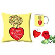 Buy meSleep Yellow Happy Valentine Day Digital Printed Cushion (With Filler) & Mug With Free Artificial Rose And Key Chain from Amazon