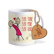 TiedRibbons® Valentine Gifts for Boyfriend Coffee Mug(325ml) with Heart shaped Wooden Engraved Tag for Rs. 349