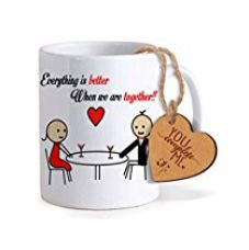 Buy TiedRibbons® Gifts for Boyfriend Coffee Mug(325ml) with Heart shaped Wooden Engraved Tag from Amazon