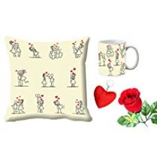 MeSleep Cartoon Valentine White Digital Printed Cushion (With Filler) & Mug With Free Artificial Rose And Key Chain for Rs. 579