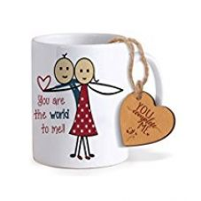 Buy TiedRibbons® Love Gifts for Boyfriend Coffee Mug(325ml) with Heart shaped Wooden Engraved Tag from Amazon